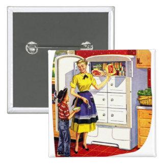 Refrigerador relleno comida retra de los suburbios pins