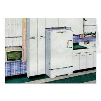 Refrigerador retro de la cocina de los años 50 del tarjeta de felicitación