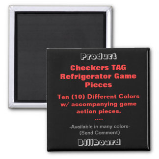 REFRIGERATOR CHECKERS TAG GAME PIECES 2 INCH SQUARE MAGNET