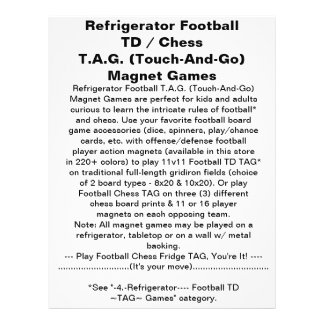 """Refrigerator Football Chess TAG Magnet Game 8.5"""" X 11"""" Flyer"""