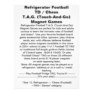"Refrigerator Football TD TAG Magnet Game 8.5"" X 11"" Flyer"