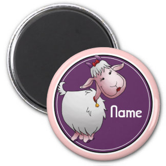 Refrigerator Magnet, Name Template, Cute Goat 2 Inch Round Magnet