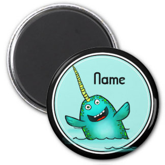 Refrigerator Magnet, Name Template, Cute Narwhal 2 Inch Round Magnet
