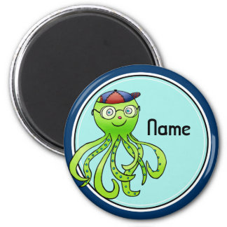 Refrigerator Magnet, Name Template, Cute Octopus 2 Inch Round Magnet