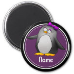 Refrigerator Magnet, Name Template, Cute Penguin 2 Inch Round Magnet