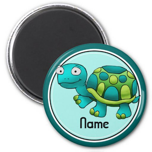 Refrigerator Magnet, Name Template, Cute Turtle