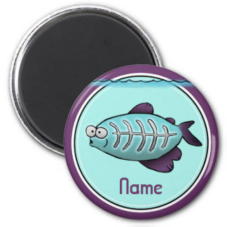 Refrigerator Magnet, Name Template, XRay Fish 2 Inch Round Magnet