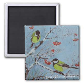 Refrigerator magnet, tits in the winter, 2 inch square magnet