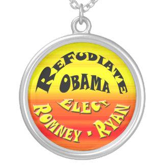 Refudiate Obama - Elect Romney-Ryan Round Pendant Necklace