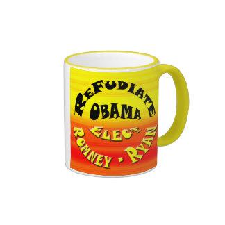 Refudiate Obama - elija a Romney-Ryan Taza De Dos Colores
