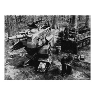 Refueling Bipedal Panzer B/W Poster