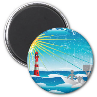 Refugees in Paper Boat 2 Inch Round Magnet