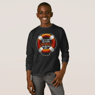 Refugees Welcome Boy's Dark Long Sleeve T-Shirt