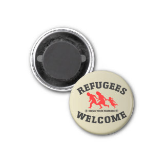 Refugees Welcome Bring Your Families 1 Inch Round Magnet