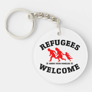 Refugees Welcome Bring Your Families Keychain