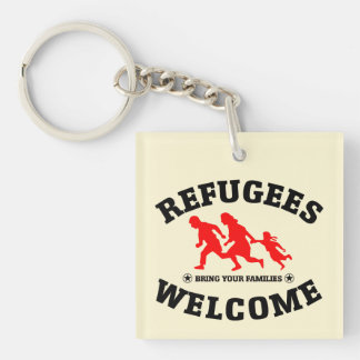Refugees Welcome Bring Your Family Double-Sided Square Acrylic Keychain