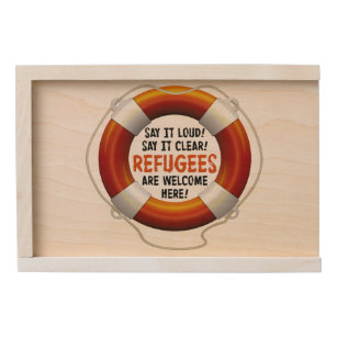 Refugees Welcome Wooden Keepsake Box