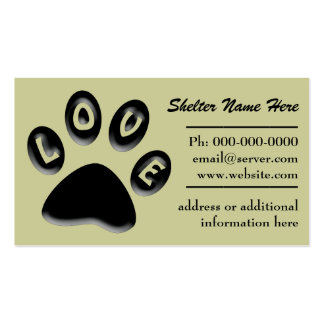 Refugio del mascota de la impresión de la pata, re tarjetas de visita