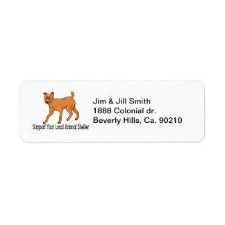 Refugios para animales de la ayuda etiquetas de remite