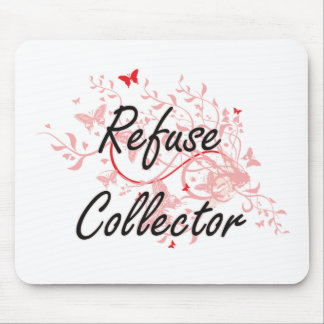 Refuse Collector Artistic Job Design with Butterfl Mouse Pad