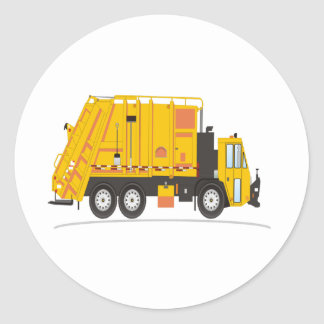 Refuse Truck Yellow Classic Round Sticker