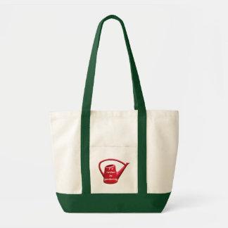 Regadera roja - estaría cultivando un huerto basta bolsa tela impulso