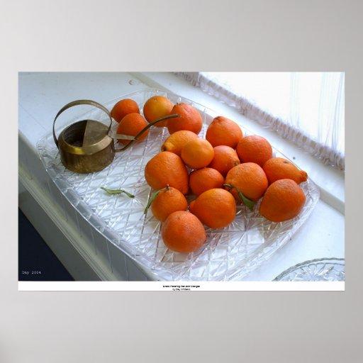 Regadera y naranjas de cobre amarillo póster