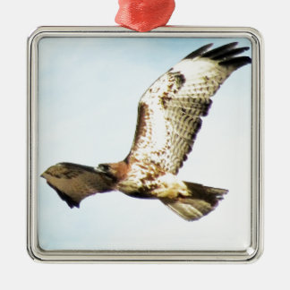 Regal and Majestic Red-tailed Hawk in Flight Christmas Tree Ornament