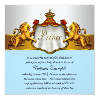 Regal Baby Blue Prince Baby Shower Personalized Invitation