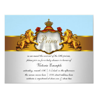 Regal Baby Blue Prince Baby Shower Personalized Announcements