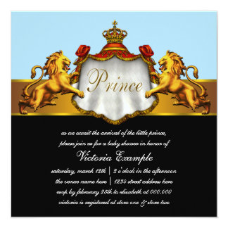 Regal Baby Blue Prince Baby Shower Custom Announcements