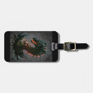Regal Black Dragon Head - Full Colour Bag Tag