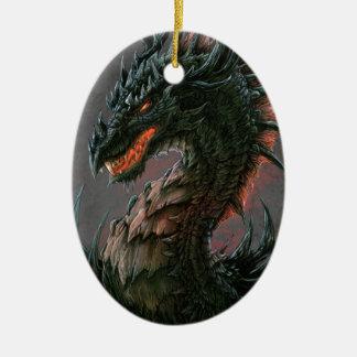 Regal Black Dragon Head - Full Colour Double-Sided Oval Ceramic Christmas Ornament