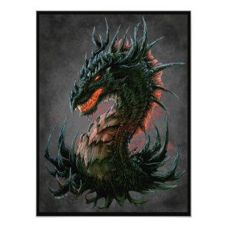 Regal Black Dragon Head - Full Colour Photo Print