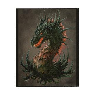 Regal Black Dragon Head - Full Colour Wood Wall Art
