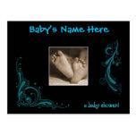 Regal Blue Baby Boy Shower Invitation Postcard