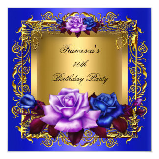 Regal Blue Lilac Roses Gold Elegant Birthday A Card