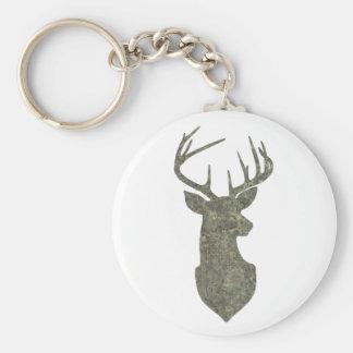 Regal Buck Trophy Deer Silhouette in Camouflage Keychain