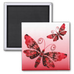 """Regal Butterfly"" (red) by Cheryl Daniels 2 Inch Square Magnet"