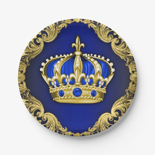 Crowns For Baby Shower: Regal Crown Royal Baby Shower Paper Plate