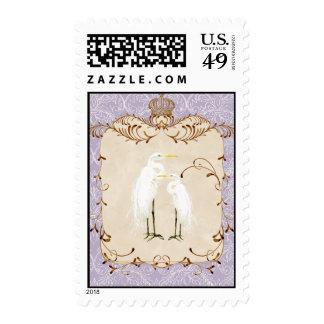 Regal Egrets, Swirls & Damask - Wedding Postage