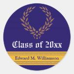Regal Elegance Graduation Invitation Seal (blue) Round Stickers