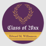 Regal Elegance Graduation Invitation Seal (purple) Sticker