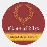Regal Elegance Graduation Invitation Seal (red) Round Sticker