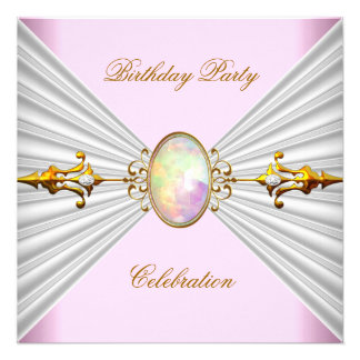 Regal Elegant Pink White Opal Gold Party Personalized Invites