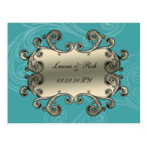 regal flourish aqua damask thank you postcard