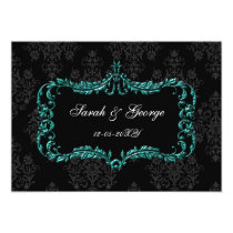 regal flourish black and aqua damask invites