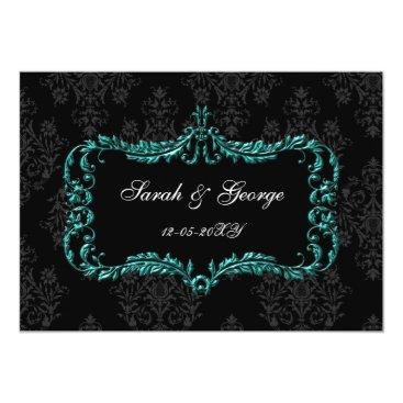 regal flourish black and aqua damask invites