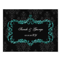 regal flourish black and aqua damask rsvp card