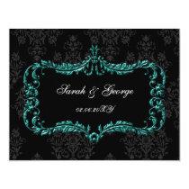 regal flourish black and aqua damask rsvp card